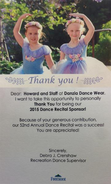 Thank-you card from City of Fremont Recreation Dance Supervisor
