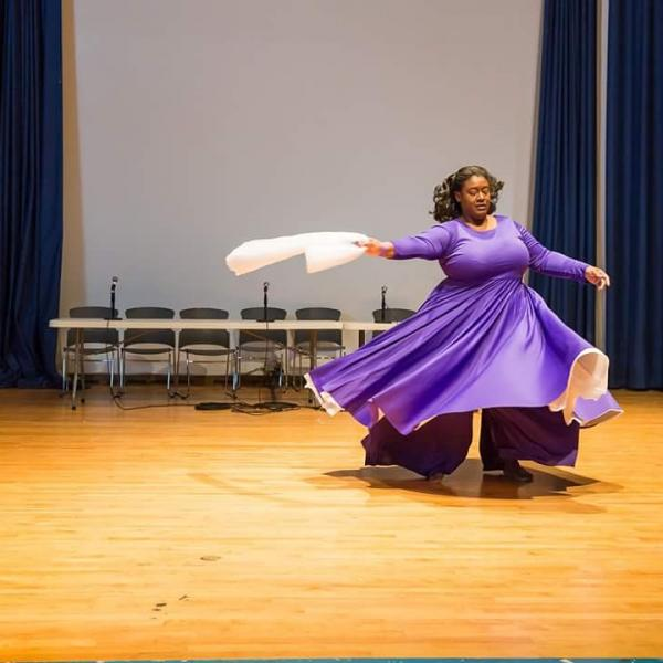 White chiffon dance drape
