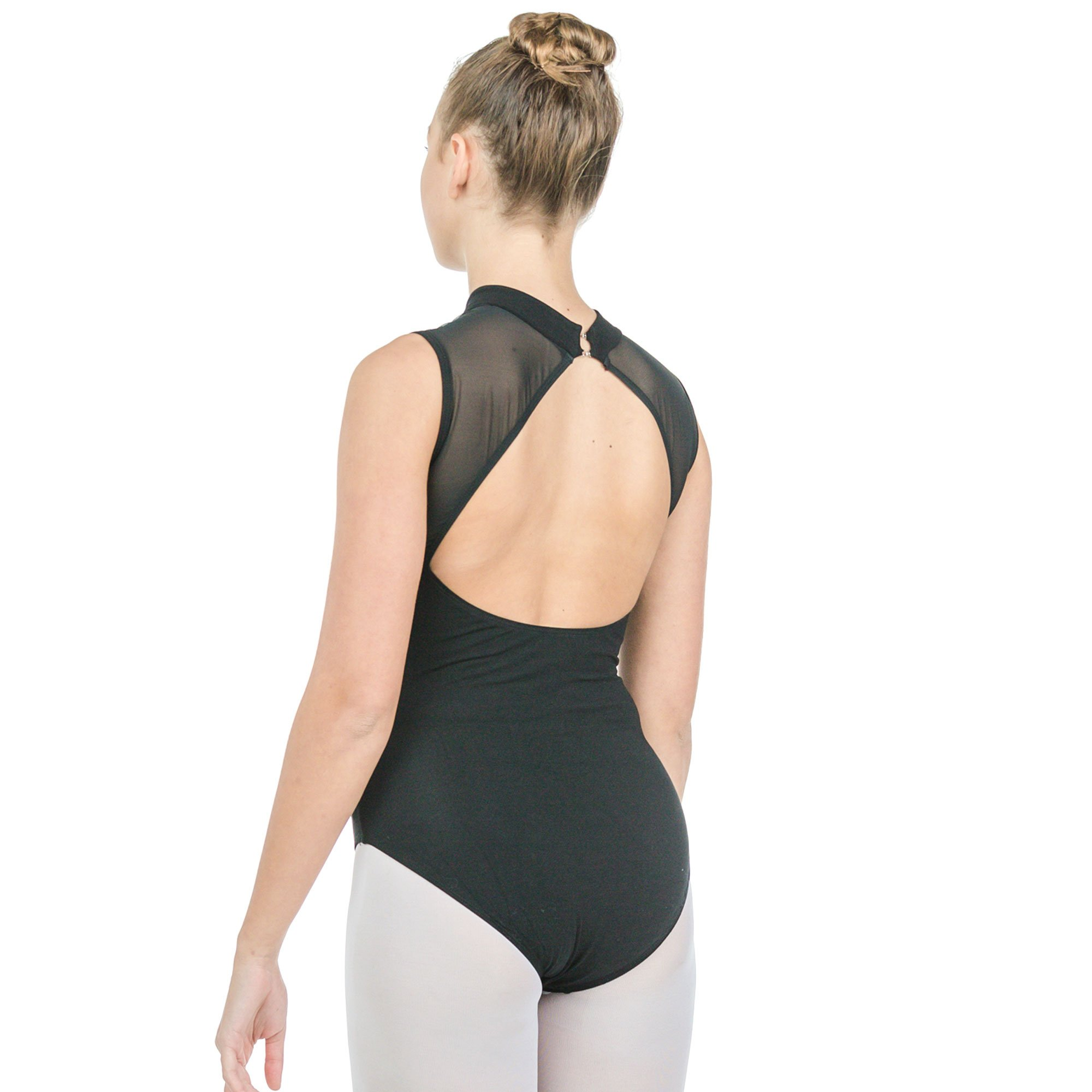 Baiwu Adult Sleeveless Mesh Open Back Leotard