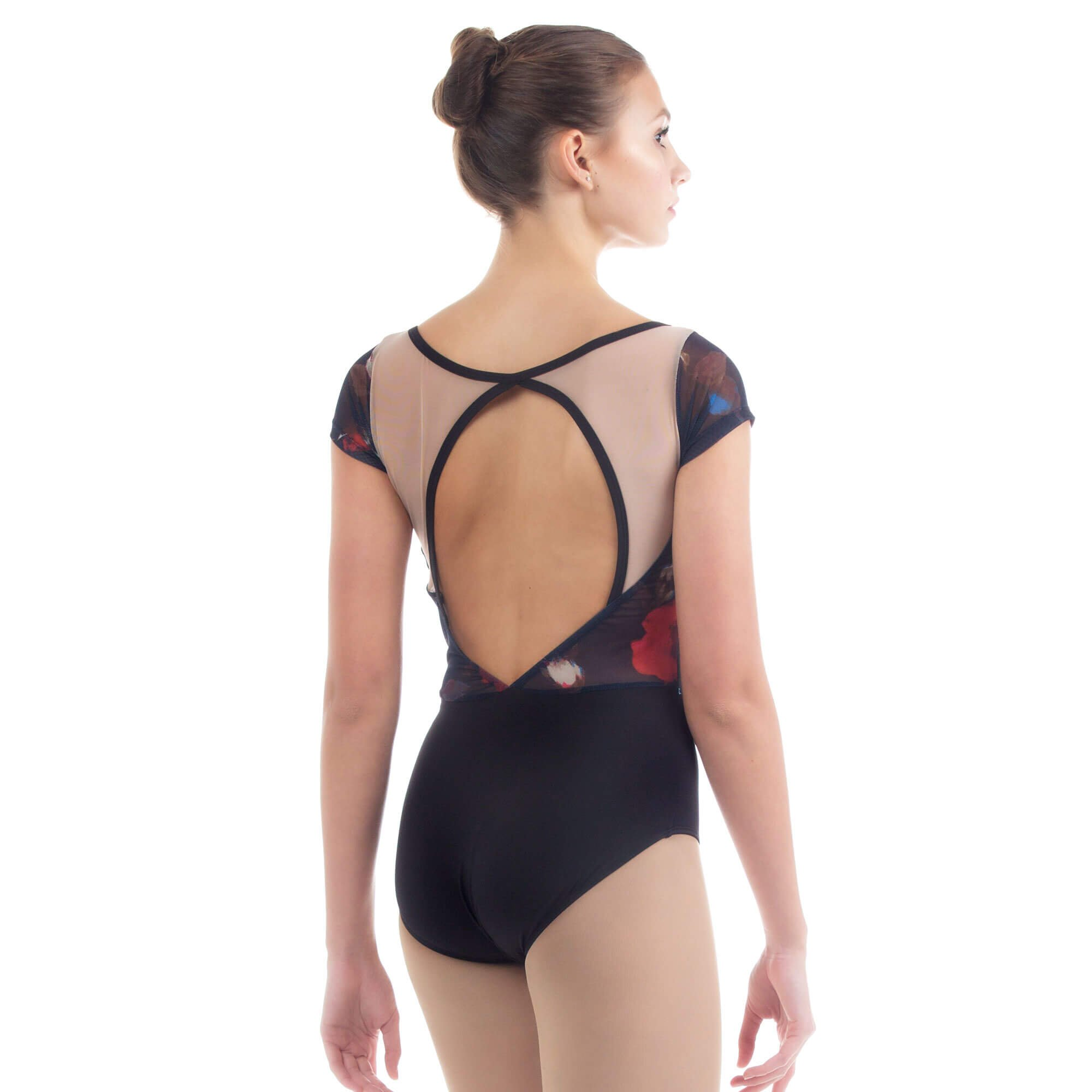 Baiwu Women's Half Sleeve Mesh Print Heart Back Leotard