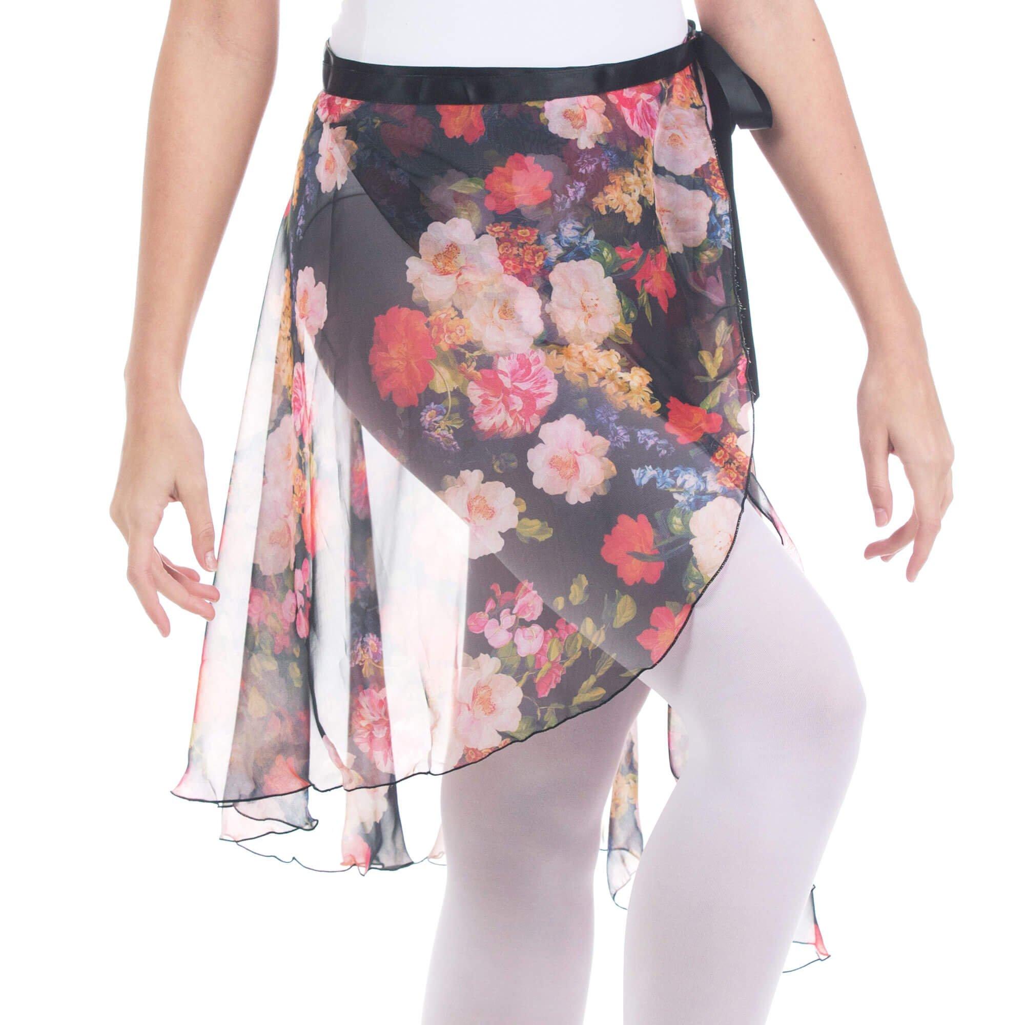 698dab4855863 Baiwu Women s Flower Print Chiffon Midi Wrap Skirt