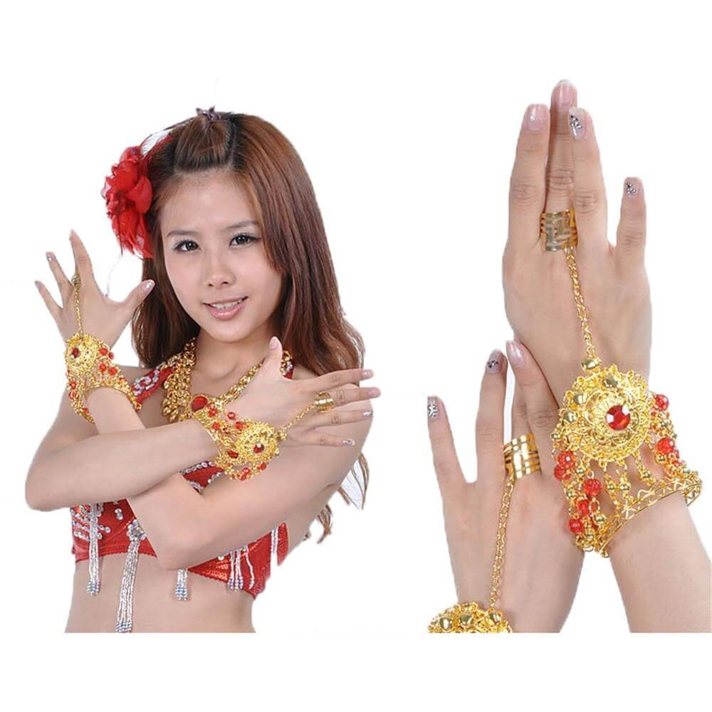 Belly dance gold ruby slave bracelet (PAIR)