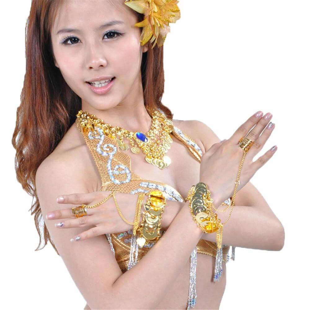 Belly dance metal coin slave bracelet (PAIR)