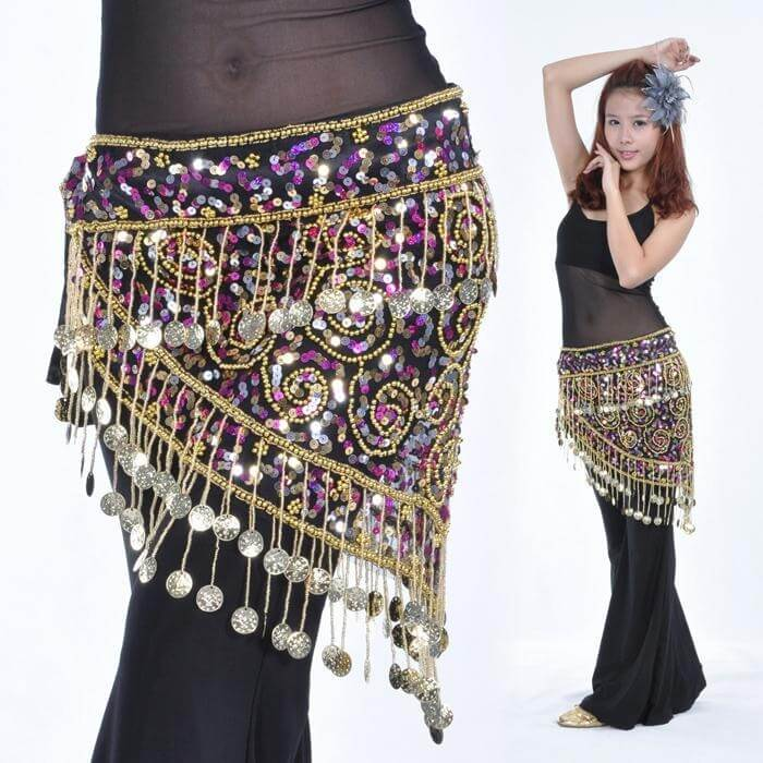 150 Golden Coins Belly Dance Hip Scarves Belt