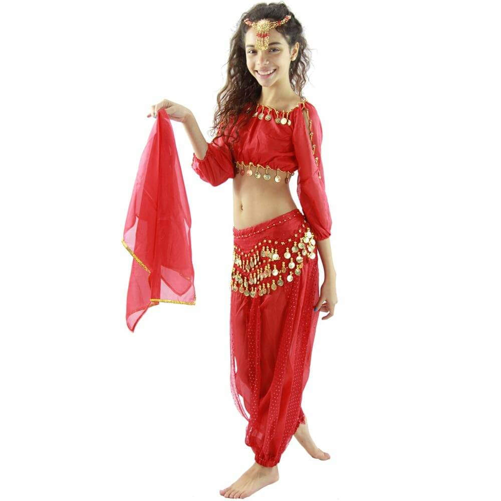 Bollywood Long Lantern 5-Piece Children Belly Dance Costume