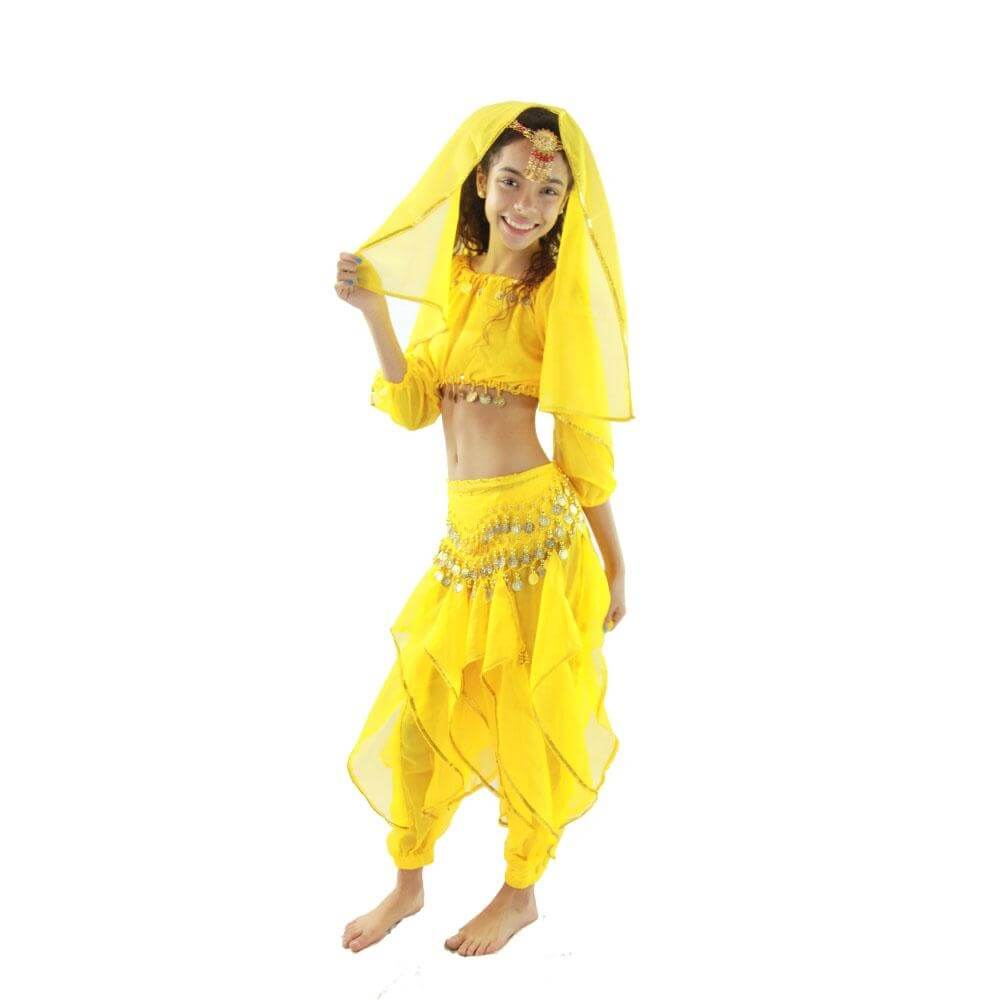 Bollywood Long Sleeve 5-Piece Children Belly Dance Costume