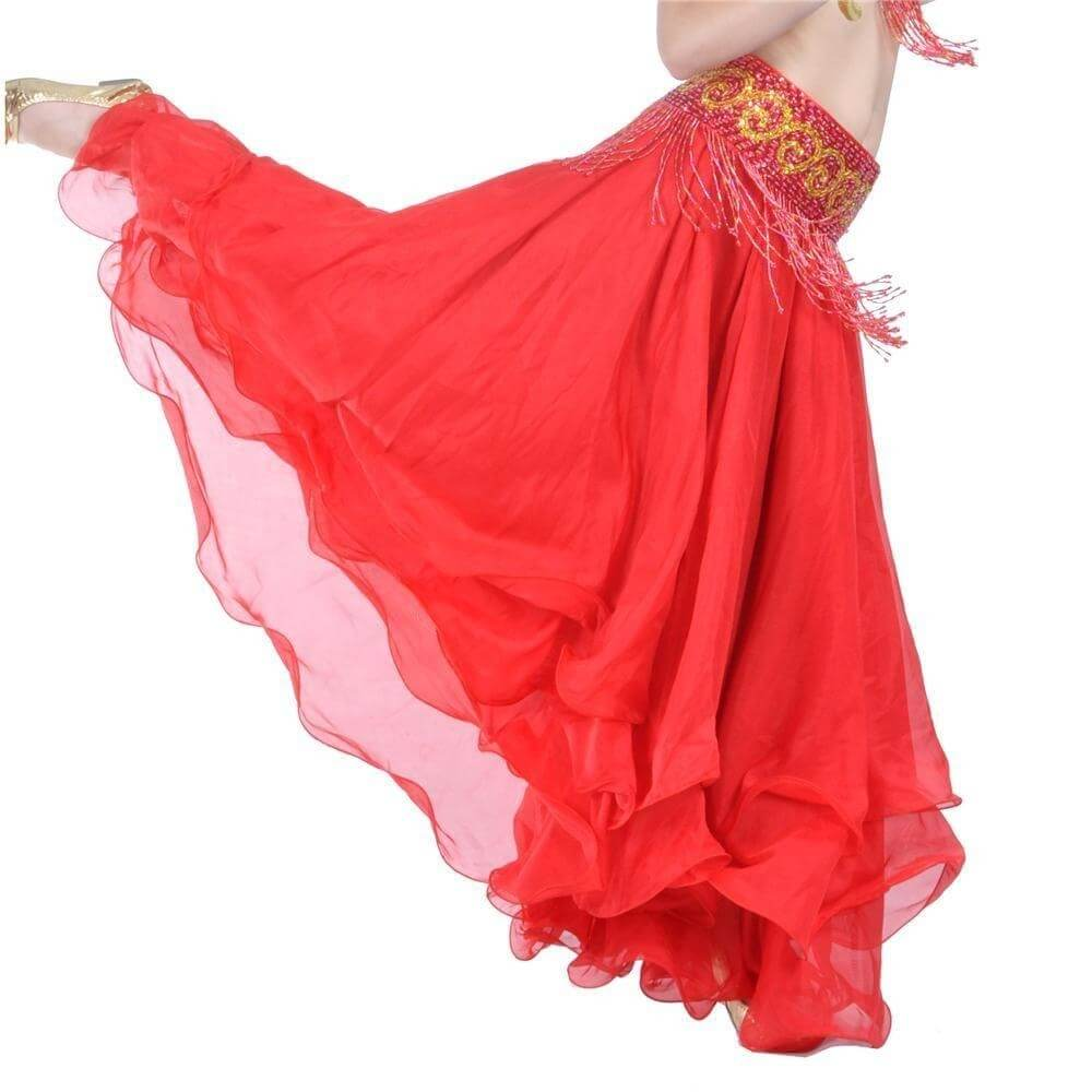 Red Three-Layer Chiffon Belly Dance Skirt
