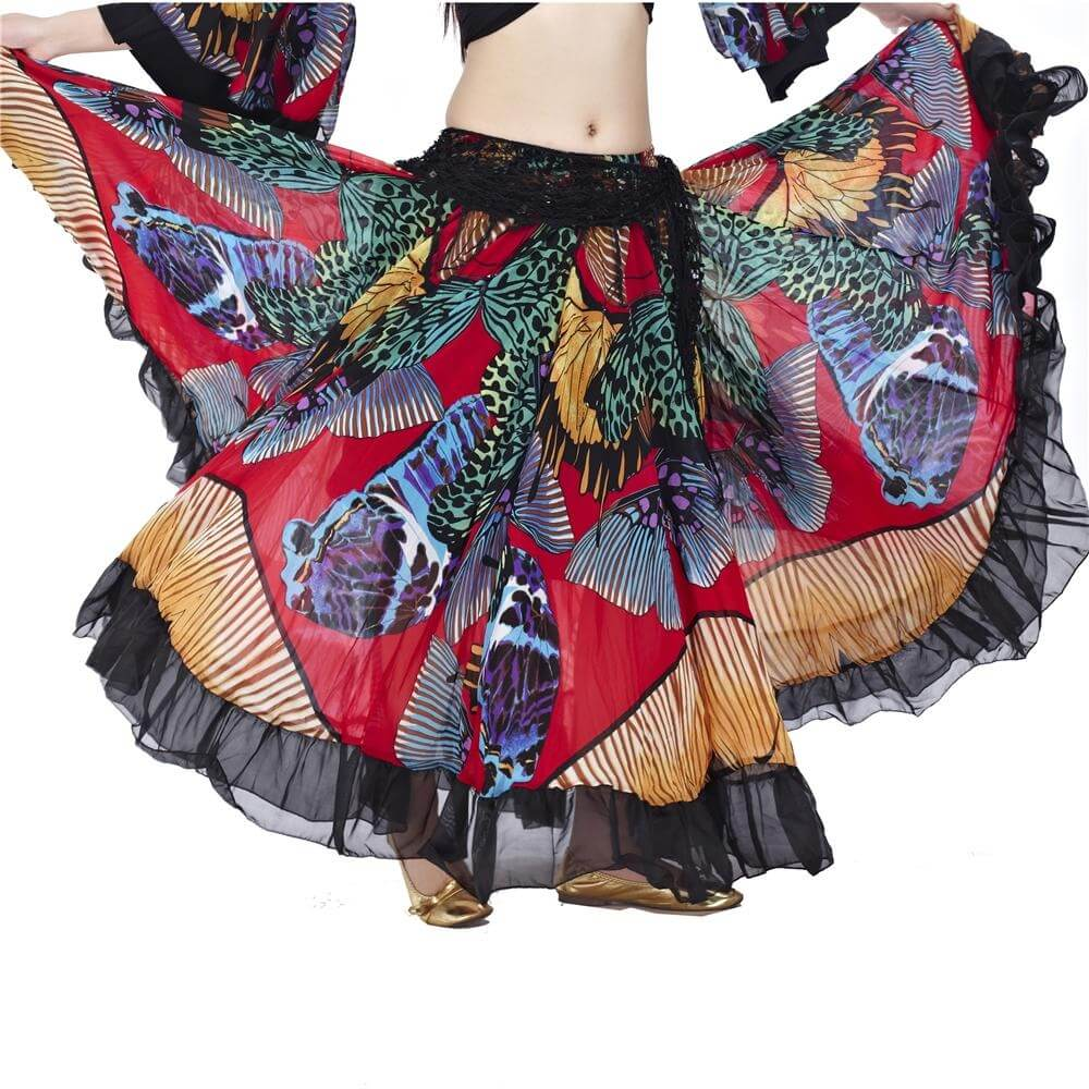 Fashion colorful butterfly print belly dance skirt