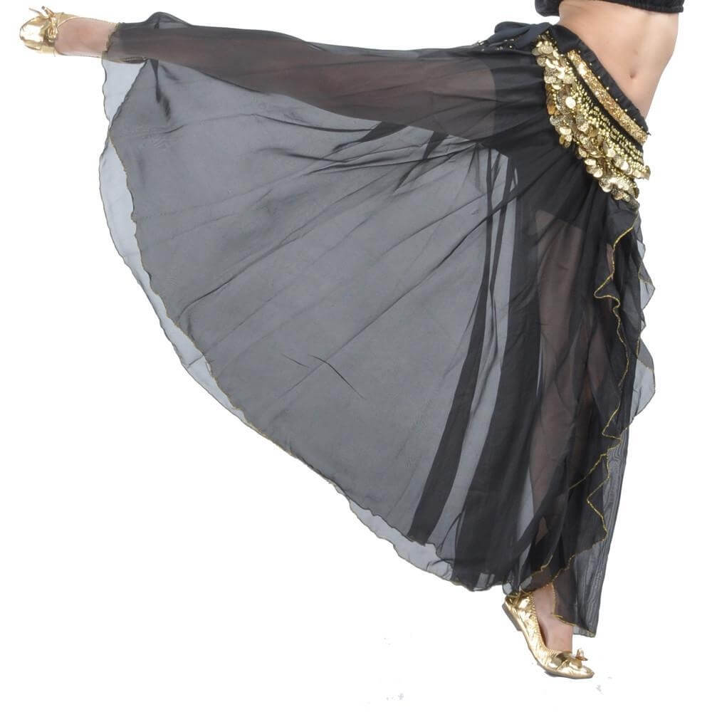 Black Fashion Front Openings Belly Dance Skirt