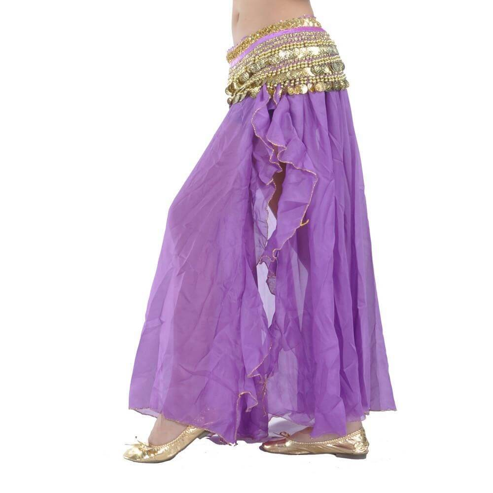 Purple Fashion Front Openings Belly Dance Skirt
