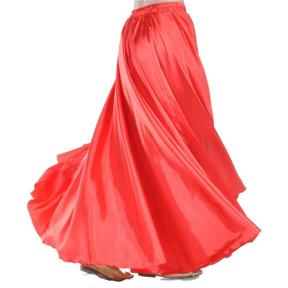 Red Fashion Large Satin Skirt Belly Dance Skirt