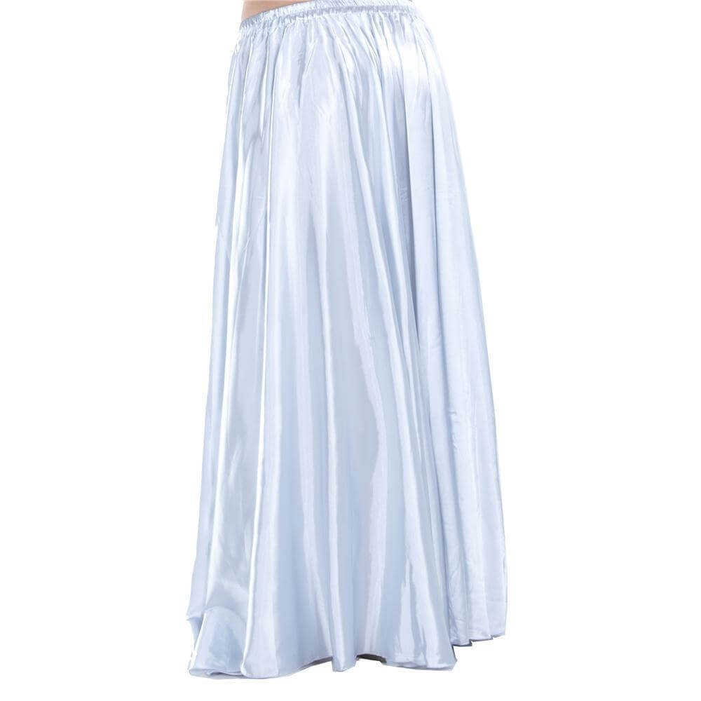 White Fashion Large Satin Skirt Belly Dance Skirt