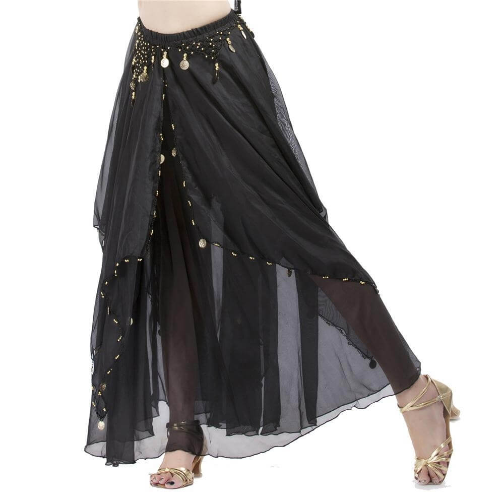 Black Fashionable Chiffon Hanging Coin Belly Dance Skirt