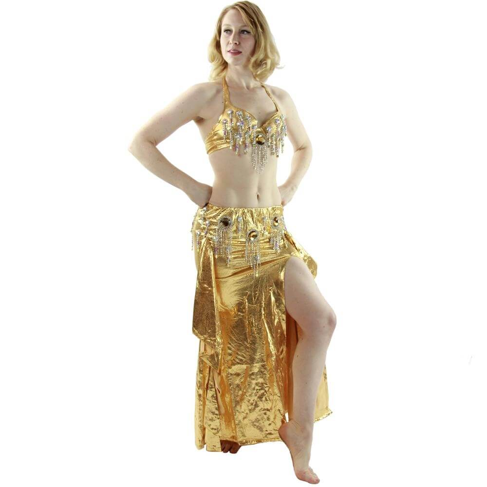 Bling bling-2-Piece Diamond Slit Skirt Belly Dance Costume