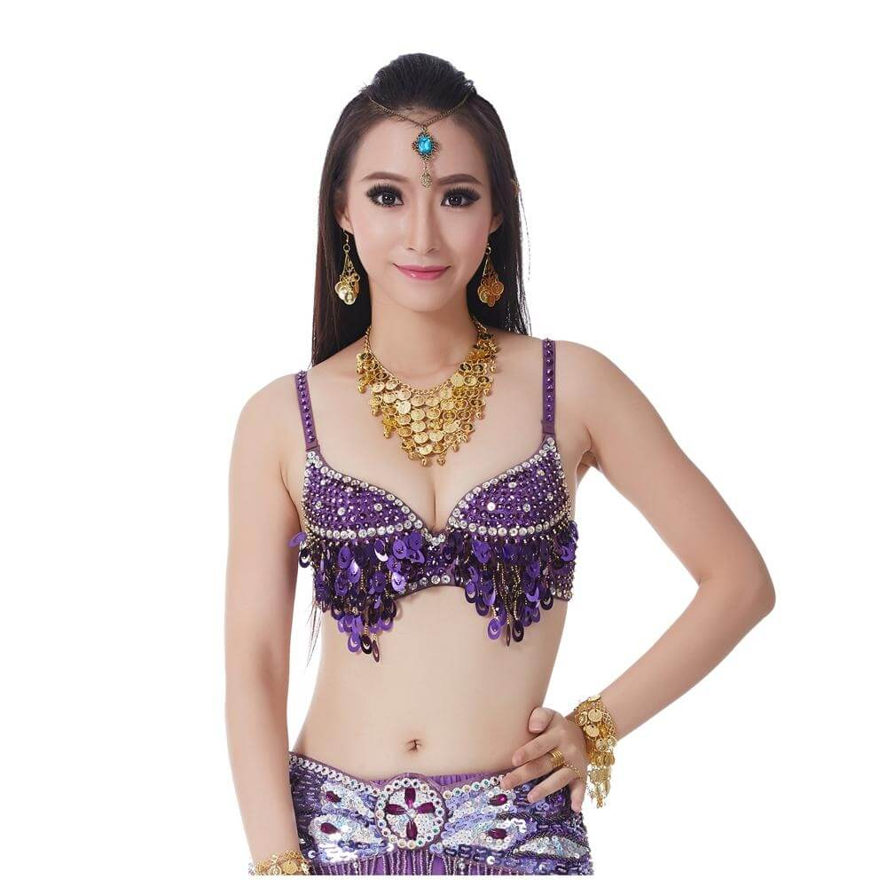 Fashion Grape Sequinned Belly Dance Bra - Click Image to Close