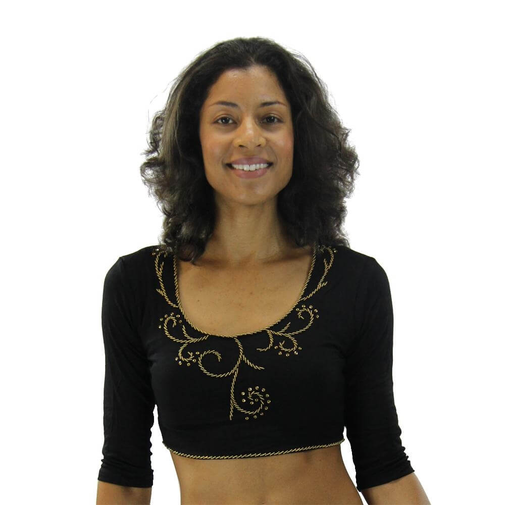 Fashion Beaded Long-sleeved Belly Dance Top