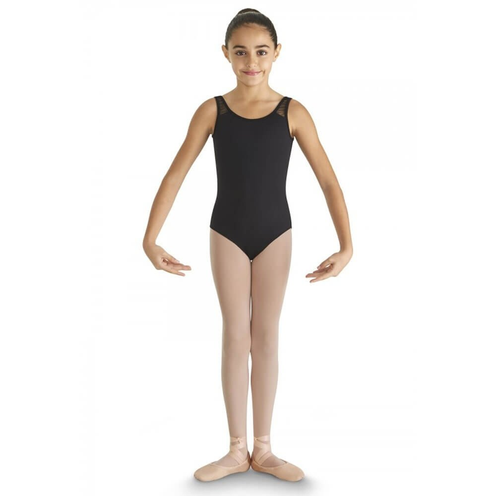 Bloch Child Glitter Bow Tulle Gather Shoulder Bow Back Tank Leotard