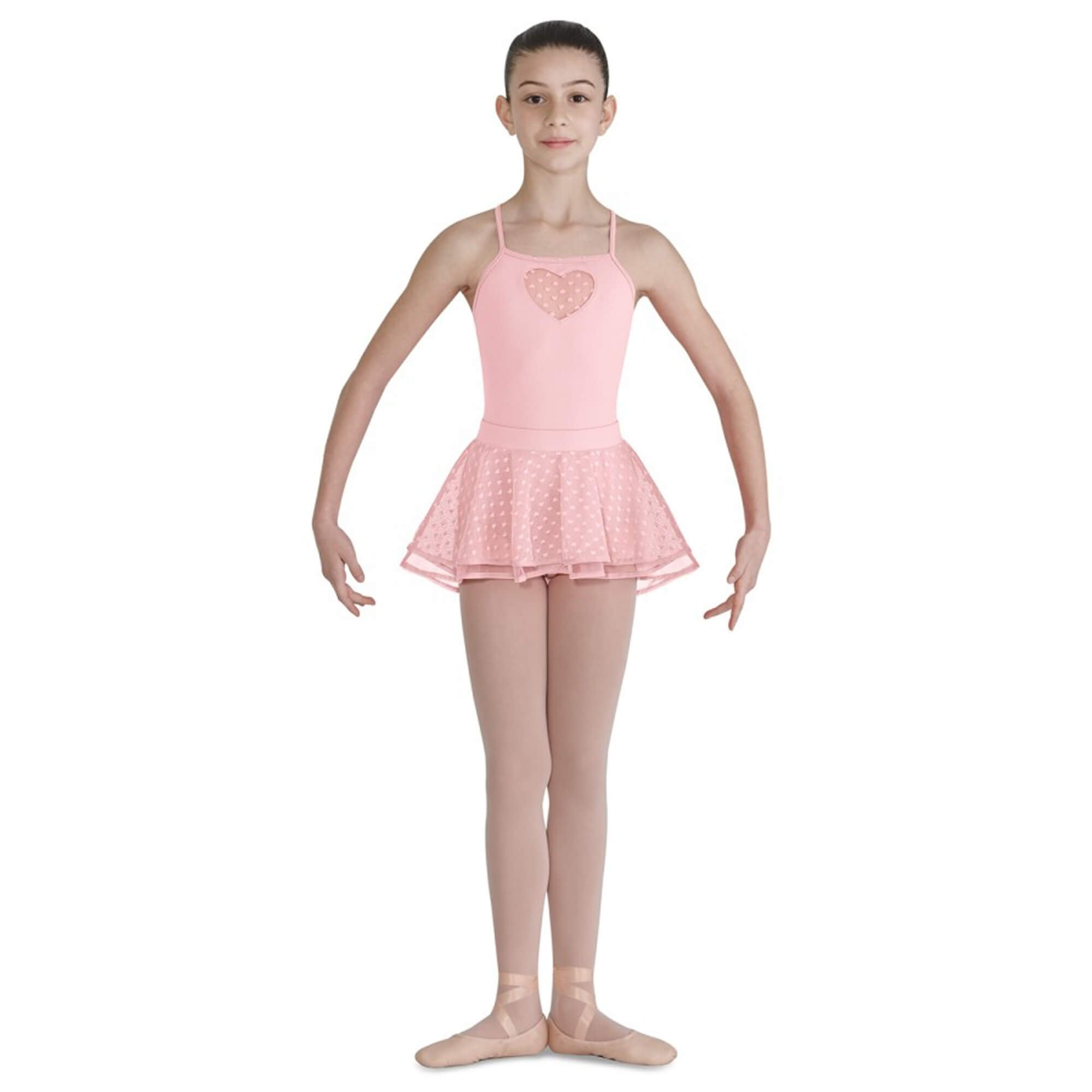 bloch child bahibak heart mesh shaped back hem ballet skirt