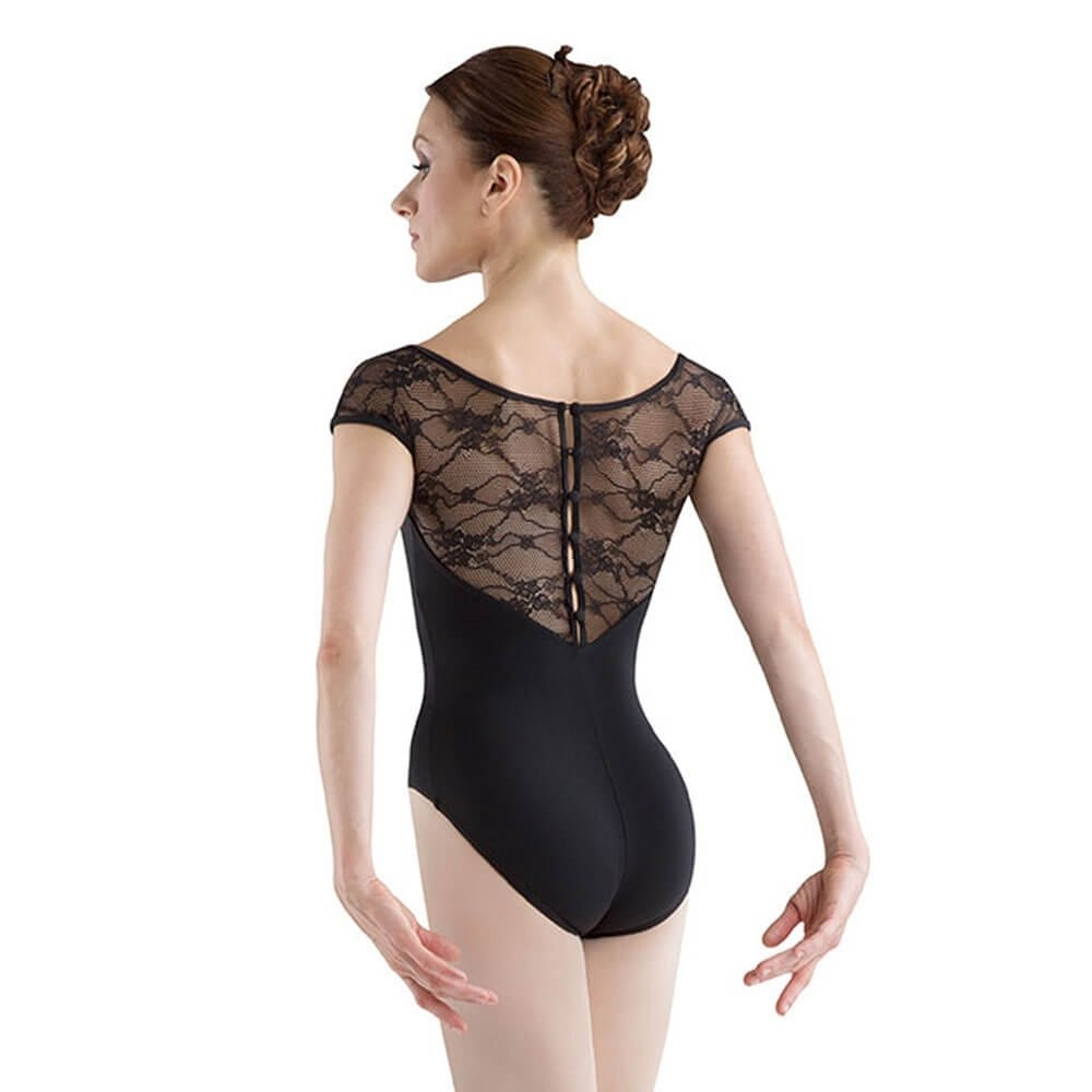 Bloch Button Back Cap Sleeve Lace Leotard