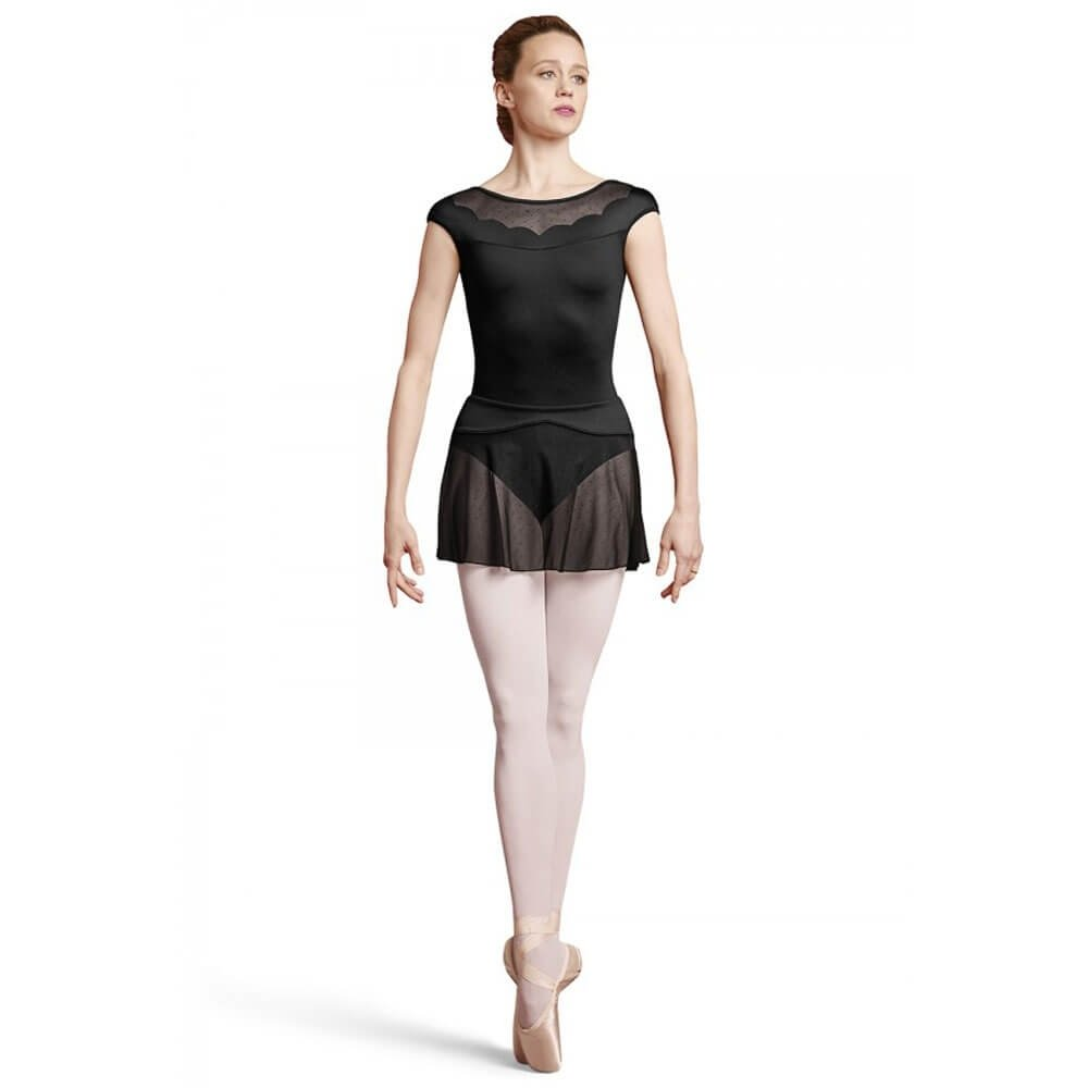 Bloch Adult Laser Scallop Mock Button Back Cap Sleeve Leotard