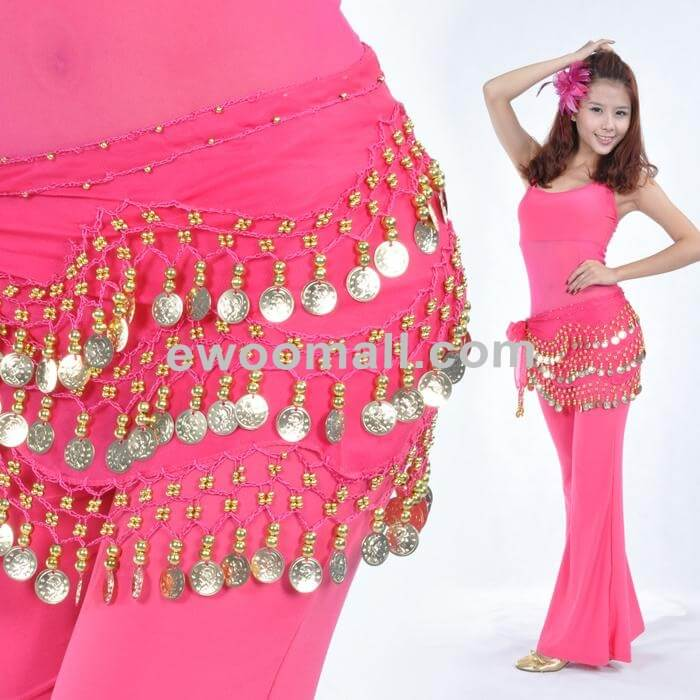 158 Gold Coins Belly Dance Hip Coin Scarf Chiffon