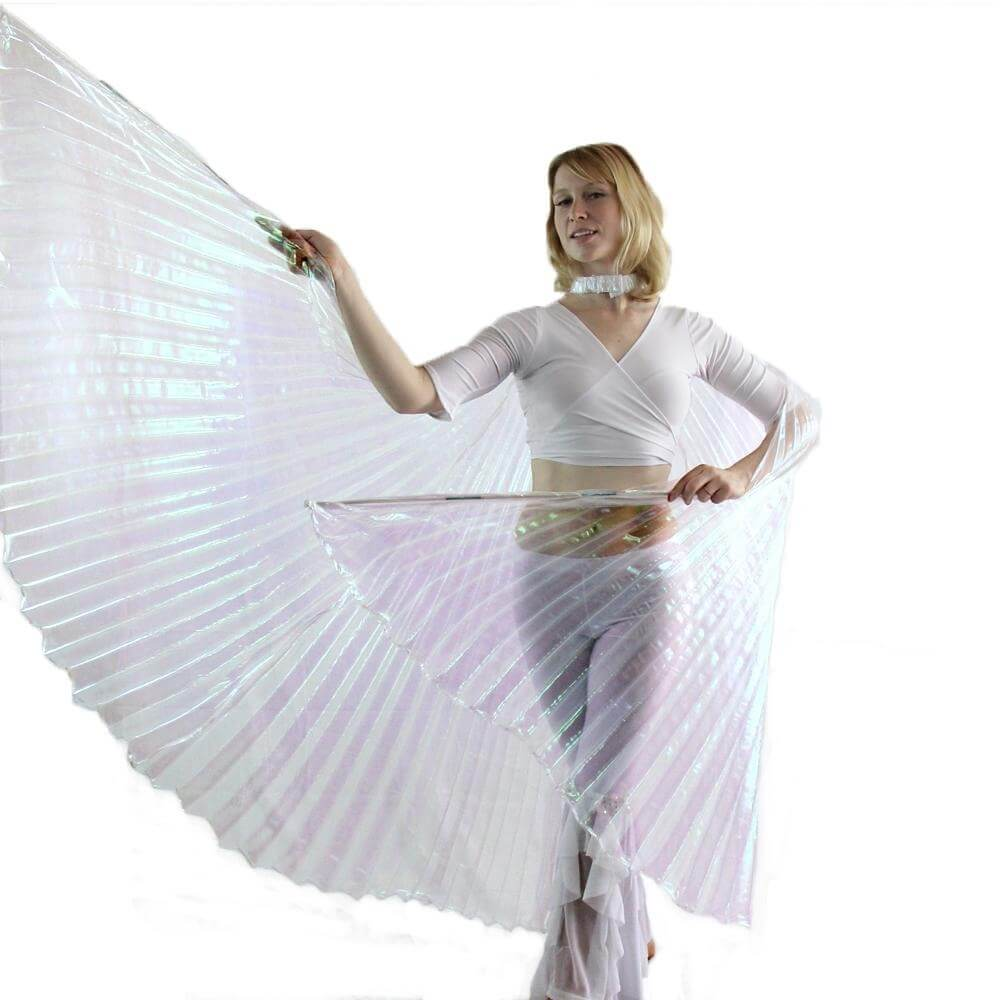Iridescent White Worship Angel Wing - Click Image to Close
