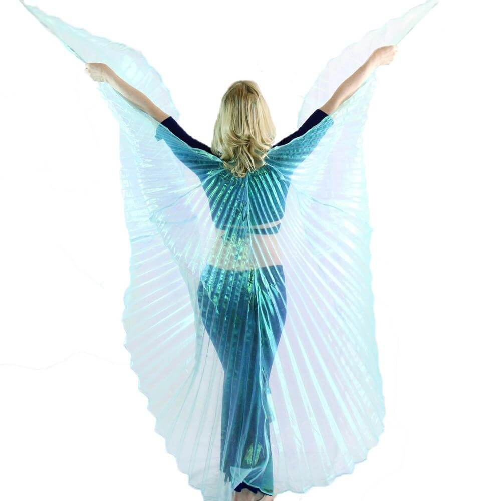 Iridescent Neon Turquoise Worship Angel Wing