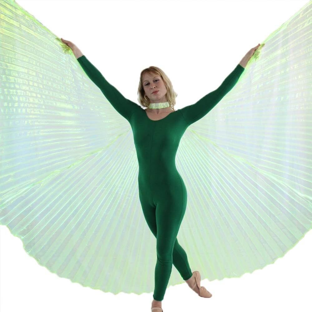 Iridescent Neon Lime Green Worship Angel Wing