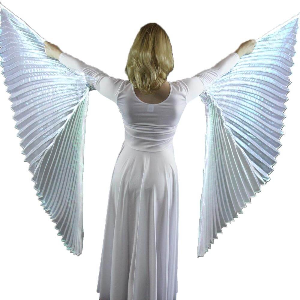 Iridescent White Hand-held Worship Angel Wing