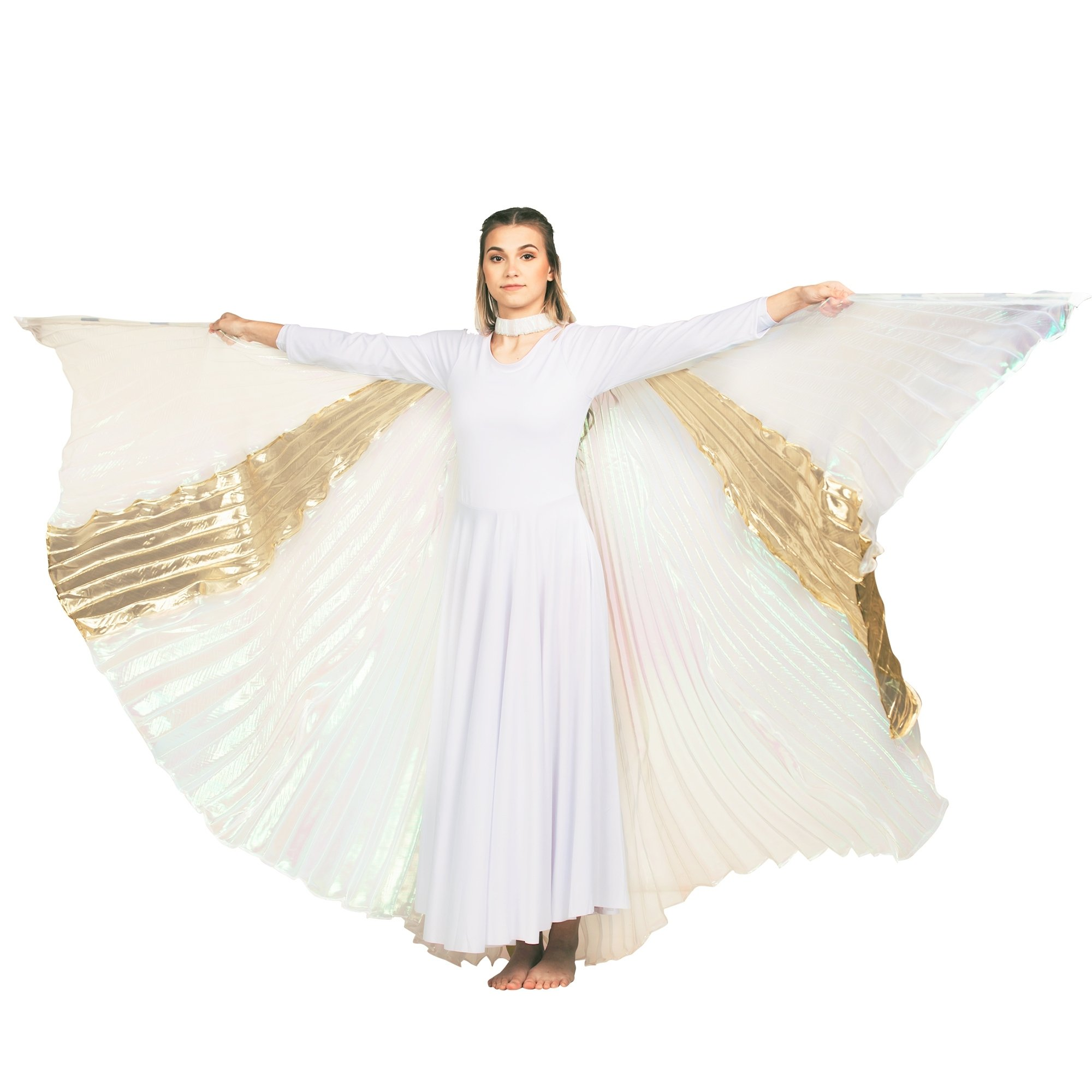 Transparent Gold-White Cross Worship Angel Wing
