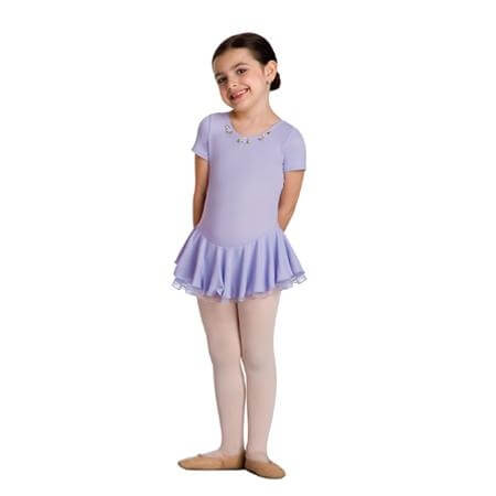 Body Wrappers Delightfully Charming Short Sleeve Skirted Leotard