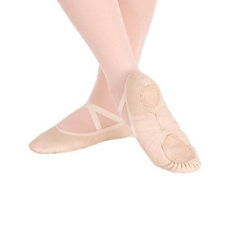 Body Wrappers Sterling Split Sole Leather Pleated Ballet Slipper