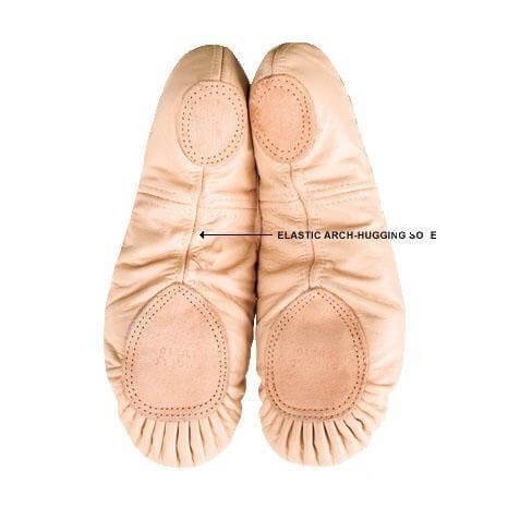 body wrappers sterling split sole leather pleated ballet slipper