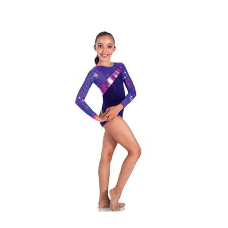 Body Wrappers Long Sleeve Leotard Asymmetrical Metallic Insert