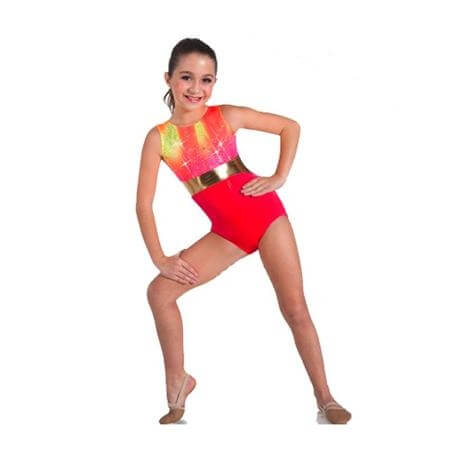 Body Wrappers Tank Leotard with Metallic Waist Insert