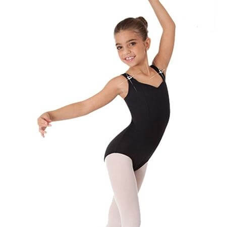 Body Wrappers Child Tank Leotard with Rhinestone Trim Straps