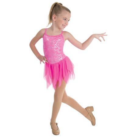 Body Wrappers Child Hearts Delight Spiked Edge Skirted Camisole Leotard