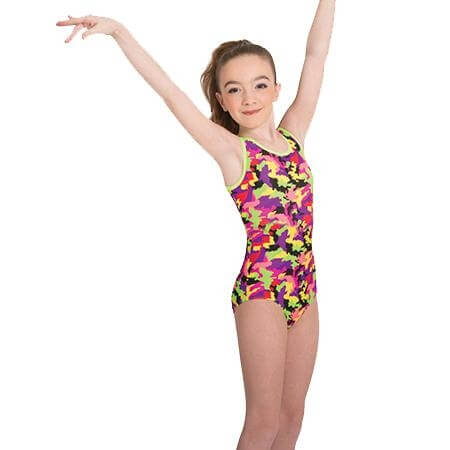 Body Wrappers Child Print Boatneck Leotard