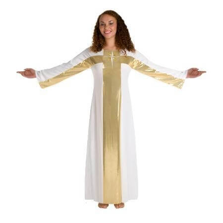Body Wrappers White-Gold Cross Robe Worship Dancewear