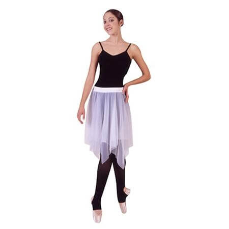 Uneven Hem Double Layer Chiffon Skirt Ministry Dance
