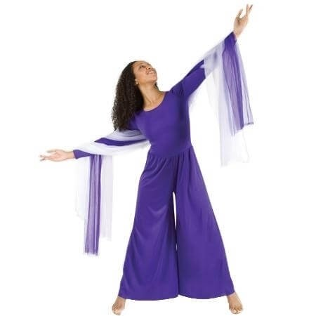 Body Wrappers Long Sleeve Crew Neck Deep Purple Jumpsuit