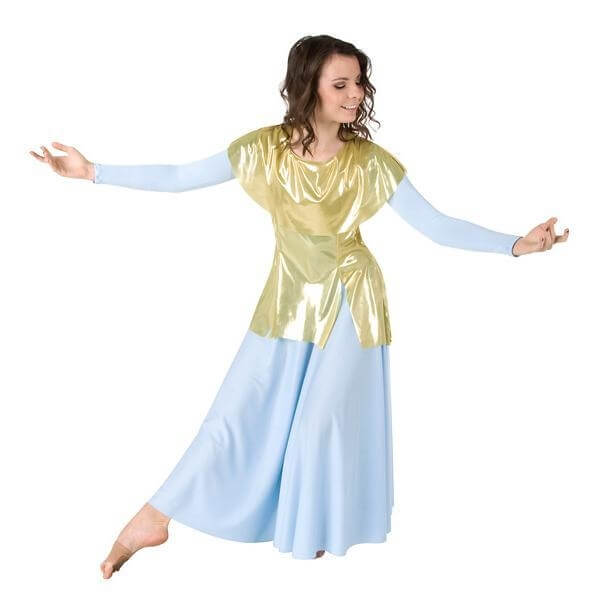 Body Wrappers Praise Dance Metallic Tunic Pullover
