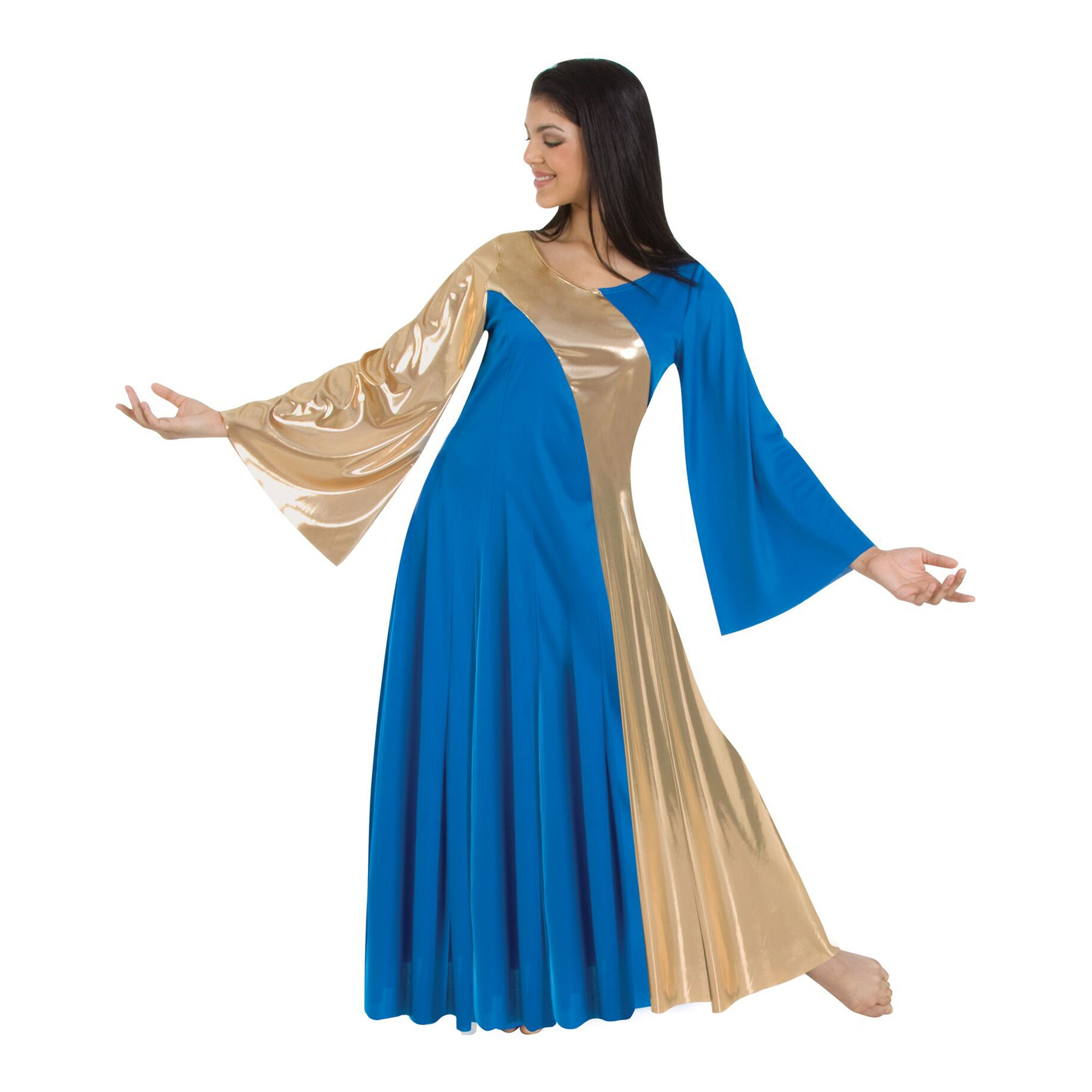 Body Wrappers Praise Dance Asymmetrical Bell Sleeve Dress