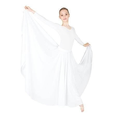 Praise Dance White Extra Full & Long Circle Skirt