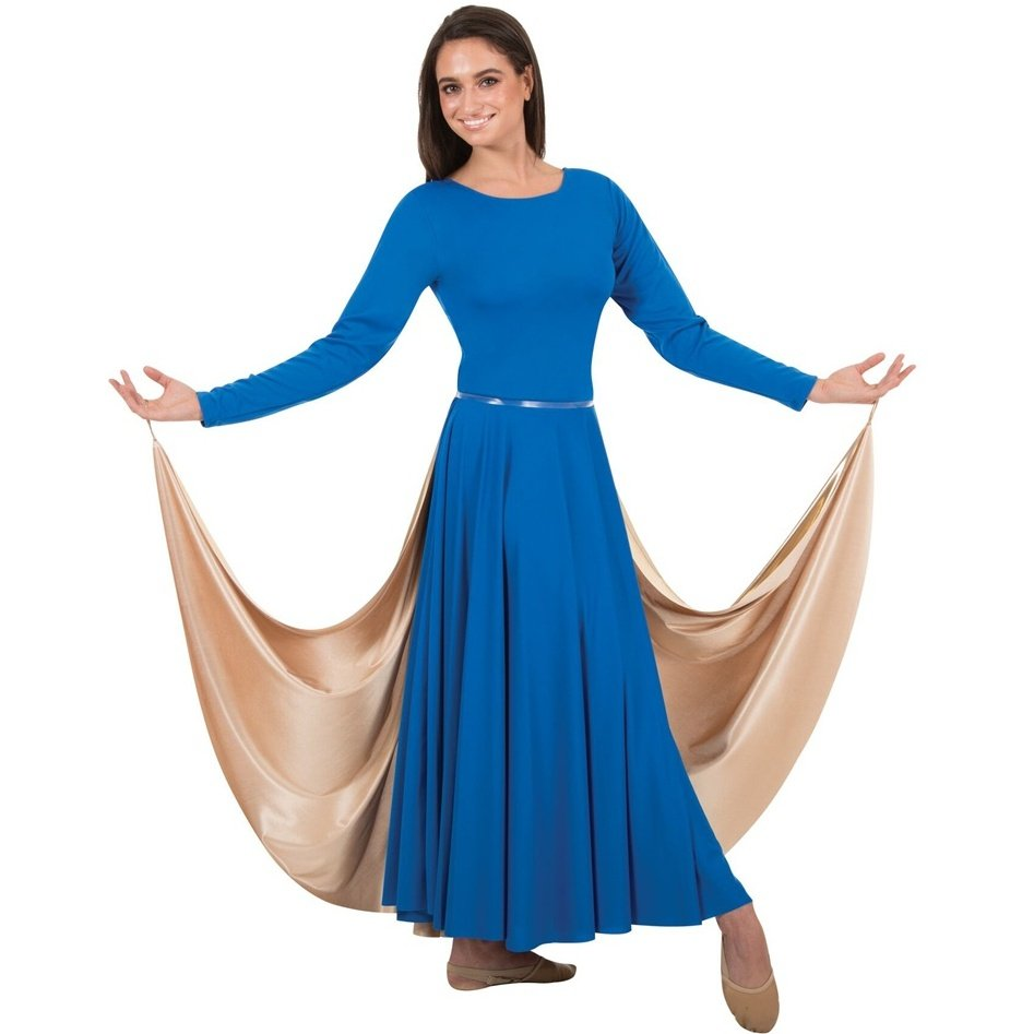 Body Wrappers Metallic Full Sweeping Open Front Half Skirt