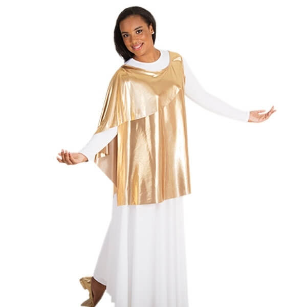 Body Wrappers Metallic Asymmetrical Uneven Hem Tunic