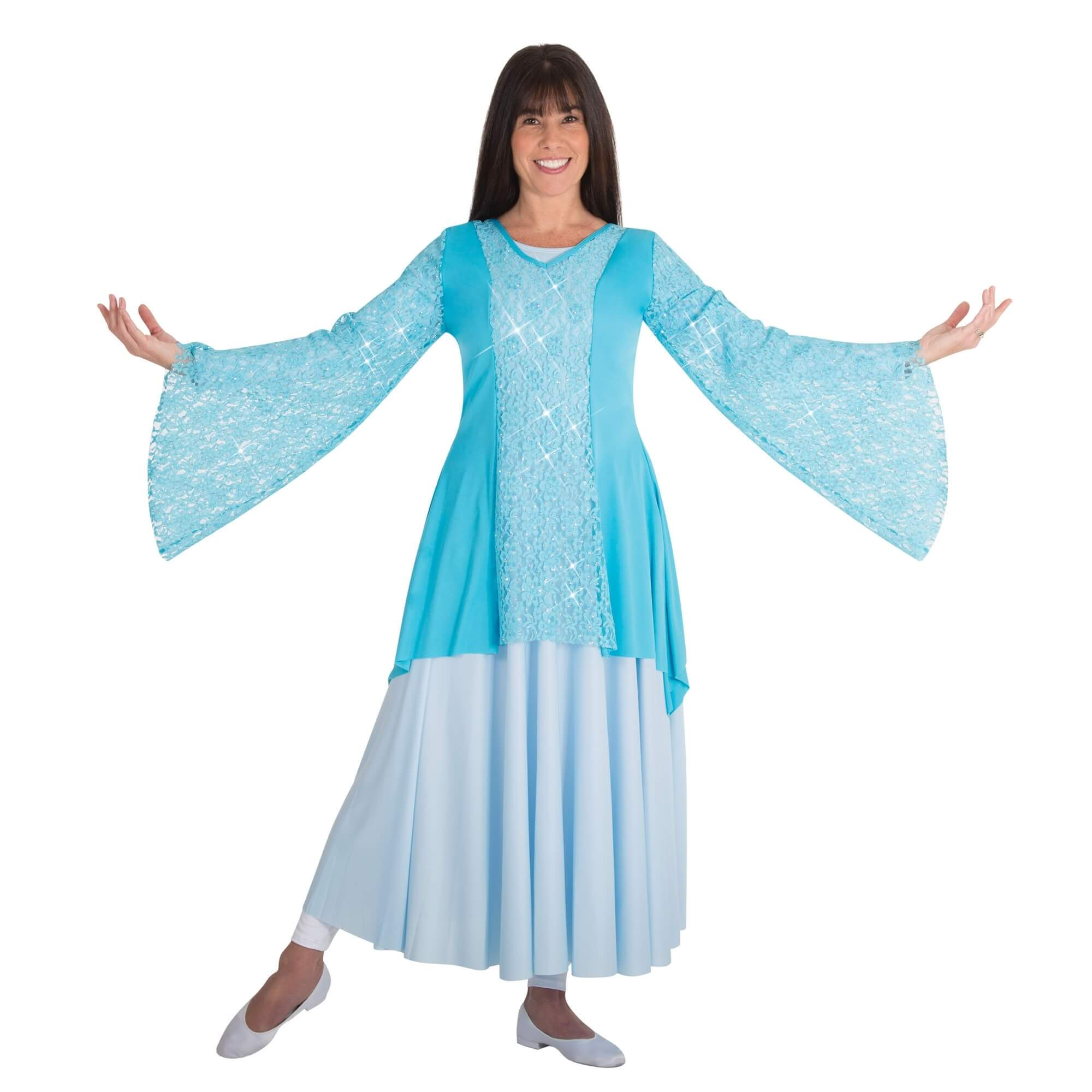 Body Wrappers Praise Dance Drapey Lace Panel Tunic