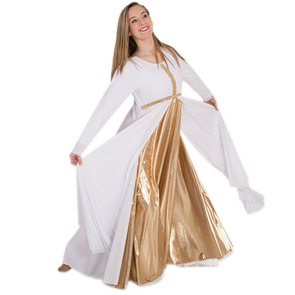 Body Wrappers Praise Dance Long Sleeve Metallic Front Cross Dress
