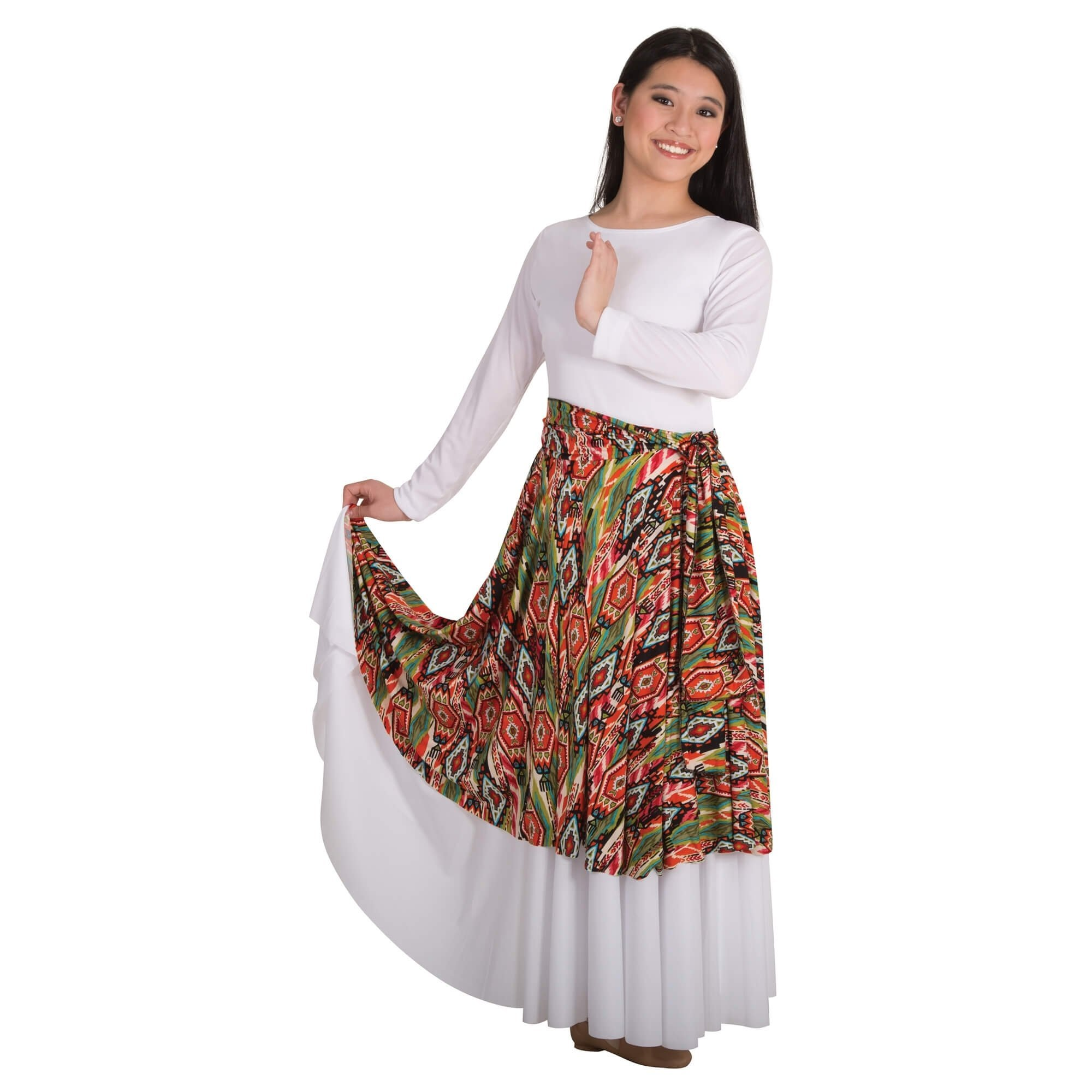 Body Wrappers Praise Dance Printed Flowing Panel Tunic/Skirt