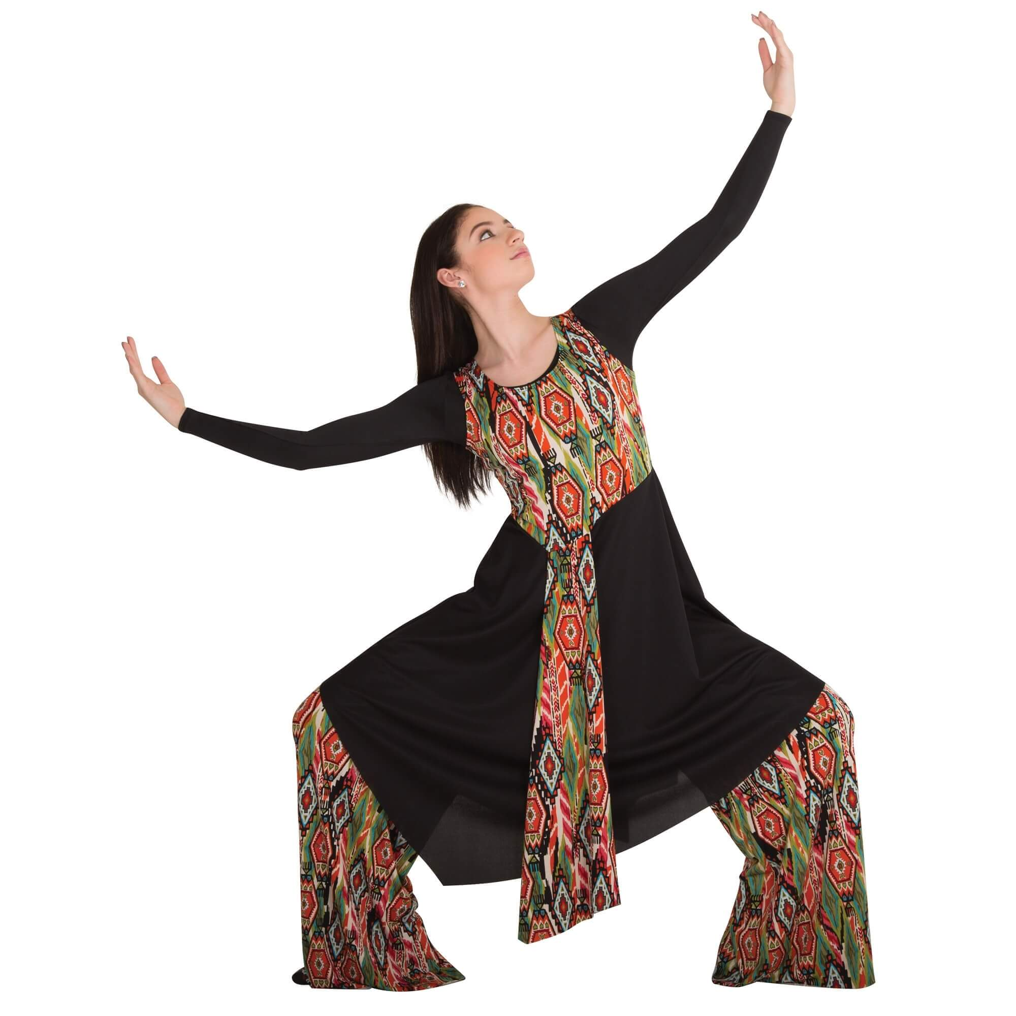Body Wrappers Liturgical Dance Printed Asymmetrical Tunic Pullover